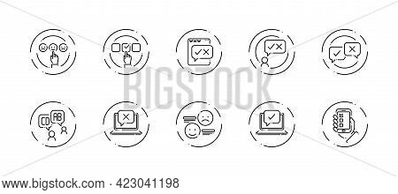 10 In 1 Vector Icons Set Related To Business Survey Theme. Black Lineart Vector Icons Isolated On Ba