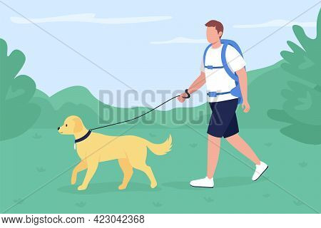Trekker Walk With Dog In Countryside Flat Color Vector Illustration. Man With Labrador Exploring Tra
