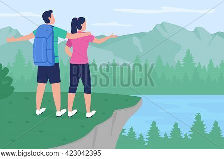 Backpacker Couple In Countryside Flat Color Vector Illustration. Boyfriend And Girlfriend Standing O
