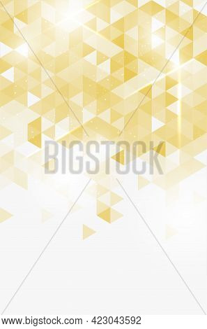 Golden Abstract Shiny Background From Triangles And Copy Space For Your Text - Vector Illustration