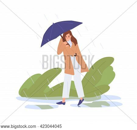 Unhappy Person Holding Umbrella, Walking Under Heavy Rain. Bad Rainy And Windy Weather Concept. Woma