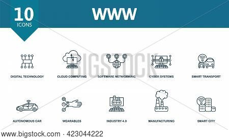 Www Icon Set. Contains Editable Icons Internet Of Things Theme Such As Digital Technology, Software