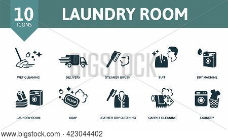 Laundry Room Icon Set. Contains Editable Icons Laundry Theme Such As Wet Cleaning, Steamer Brush, Dr