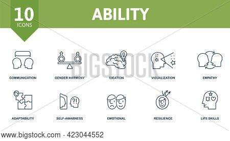Ability Icon Set. Contains Editable Icons Life Skills Theme Such As Communication, Ideation, Empathy