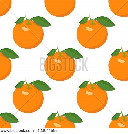 Seamless Bright Spring And Summer Pattern With Oranges And Slices On A White Background. A Set Of Ci