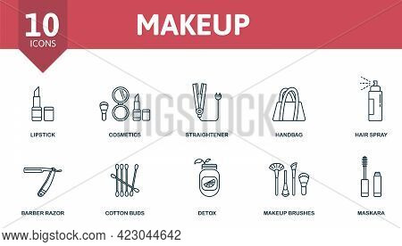 Makeup Icon Set. Contains Editable Icons Makeup And Beauty Theme Such As Lipstick, Straightener, Hai