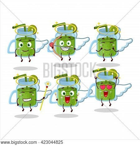 Kiwi Smoothie Cartoon Designs As A Cute Angel Character