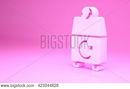 Pink Donate Or Pay Your Zakat As Muslim Obligatory Icon Isolated On Pink Background. Muslim Charity