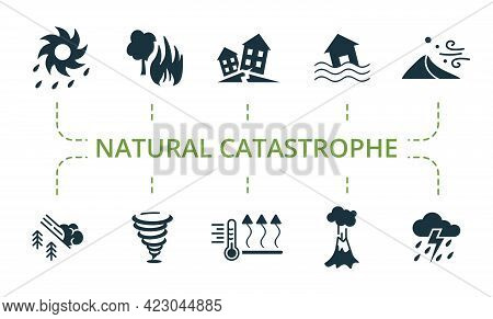 Natural Catastrophe Icon Set. Contains Editable Icons Natural Disaster Theme Such As Earthquake, San