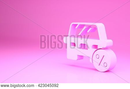 Pink Car Leasing Percent Icon Isolated On Pink Background. Credit Percentage Symbol. Minimalism Conc