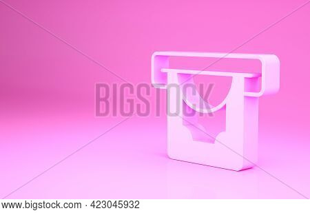 Pink Atm - Automated Teller Machine And Money Icon Isolated On Pink Background. Minimalism Concept.