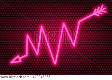 Arrow. Zigzag Indicator. Neon Glow. Vector Illustration. The Pink Symbol Indicates The Direction. Co