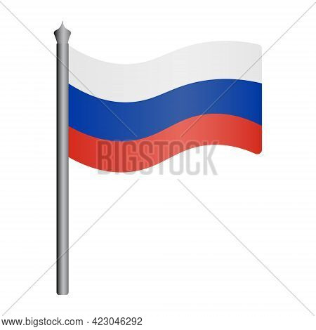 Flag Of Russia. Tricolor Fabric Cloth. The National Symbol Of The State Develops In The Wind. Colore