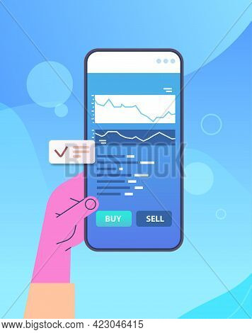 Businessperson Analyzing Statistical Information Charts And Graphs On Smartphone Screen Data Analysi