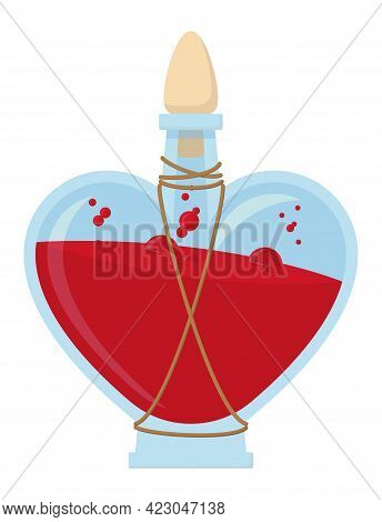 Vector Illustration Of Greater, Heart Shaped Vial With Red, Bubbly Liquid Inside - Potion Of Lesser