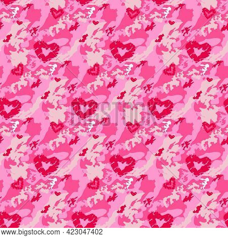 Red Camouflage Seamless Pattern. Background For Fashion Design. Love, Valentine Day Theme. Vector