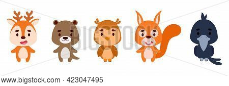 Cute Little Woodland Animals Set. Collection Funny Animals Characters For Kids Cards, Baby Shower, B
