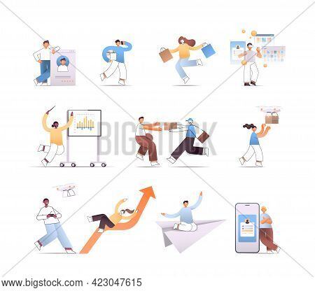 Set Businesspeople In Different Poses Mix Race People In Various Situations Cartoon Characters Colle