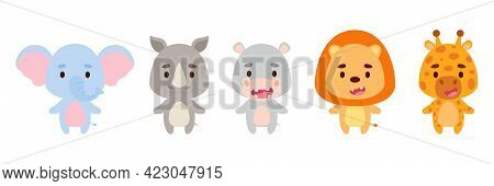 Cute Little African Animals Set. Collection Funny Animals Characters For Kids Cards, Baby Shower, Bi