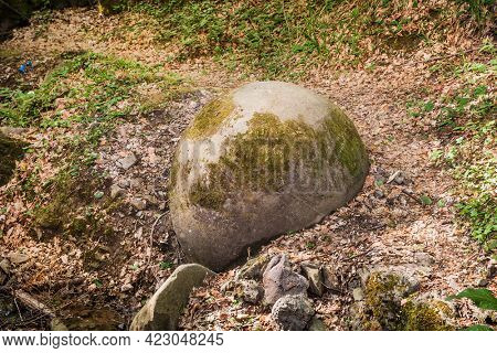 Stone sphere Ball in the deep forests of Bosnia already attracting Tourist from around the World. Bosnia and Herzegovina .. Bosnia and Herzegovina.