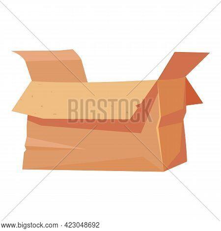 Garbage Carton Box Icon. Cartoon Of Garbage Carton Box Vector Icon For Web Design Isolated On White