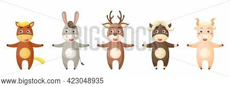Set Of Animals In Cartoon Style. Cute Animals Characters For Kids Cards, Baby Shower, Birthday Invit