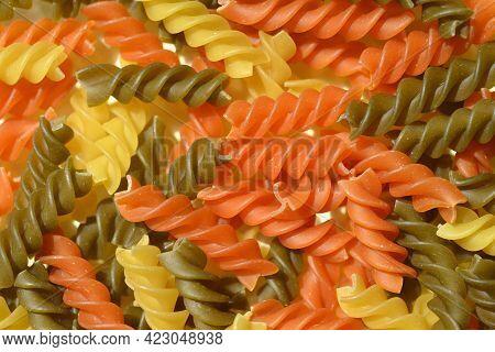 Close Up Of Dry Uncooked Fusilli Tricolore