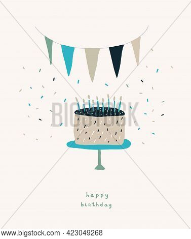 Ute Birthday Party Vector Card. Hand Drawn Birthday Cake With Blue Candles And Party Garland On A Li
