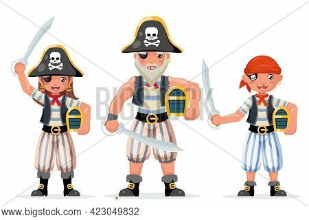 Pirate Costume Masquerade Party Characters Adult Boy Girl Design Vector Illustration