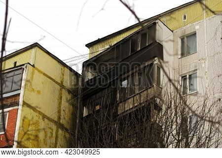 Burnt Walls Of A Tall House, Moscow