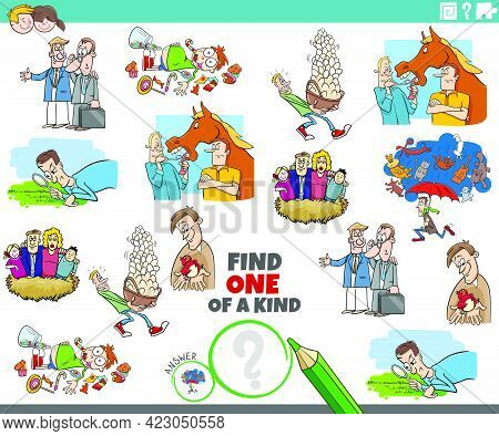 Cartoon Illustration Of Find One Of A Kind Picture Educational Game For Children With Comic Characte