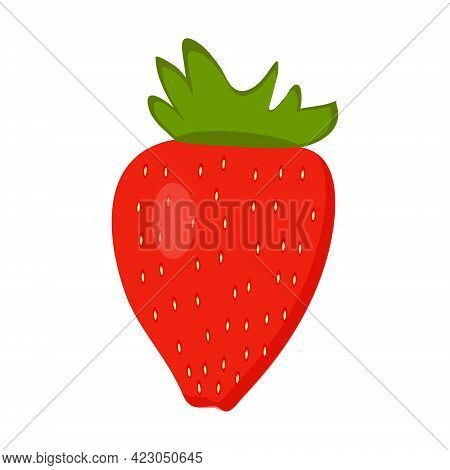 Ripe Delicious Strawberries On A White Background For Use In Web Design Or As A Print