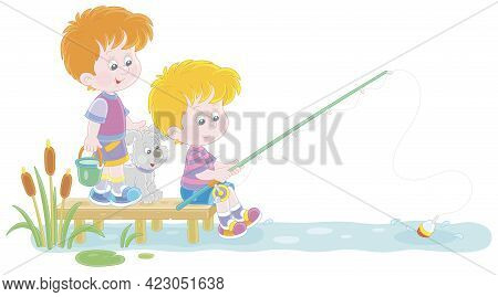 Cheerful Little Boys Fishing On A Small Pond In Countryside, Together With Their Merry Pup, On Summe