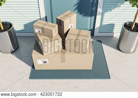Postal Delivery Or Moving Concept With Cardboard Boxes On Doormat Near Entrance Outdoor. 3d Renderin