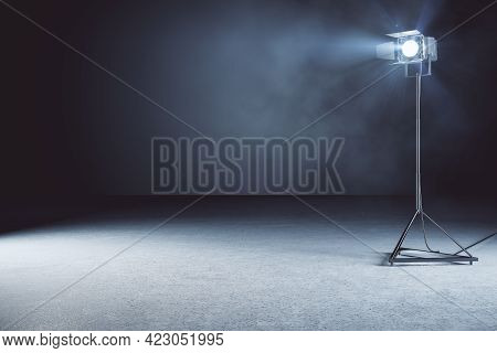 Minimalistic Concrete Photo Studio Background With Lamps And Mockup Place. 3d Rendering