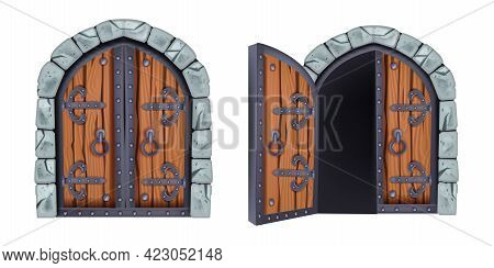 Castle Gate Vector Illustration, Medieval Wooden City Entrance, Closed And Opened Vintage Door, Ston