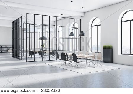 Sunny Stylish Open Space Office With Monochrome Style Interior, Big Arched Windows, Light Carpet On