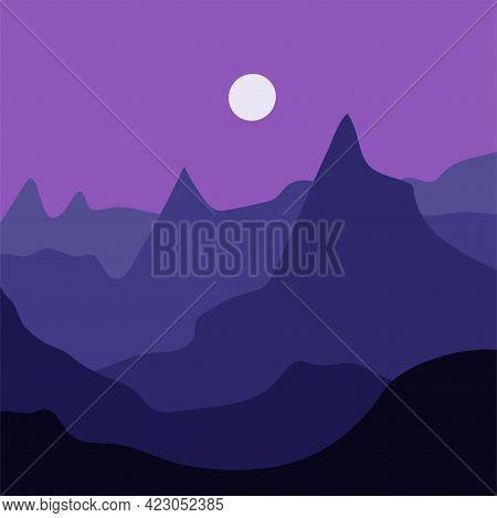 Minimalist Mountain Landscape At Night. Abstract Scandinavian Design, Vector Flat Illustration. Mid