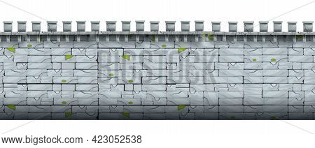 Ancient Stone Wall Seamless Pattern, City Castle Brick Vector Texture, Old Medieval Cracked Backgrou