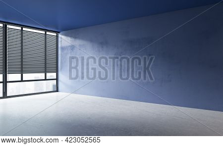 Modern Concrete Interior With Window, City View, Sunlight And Blank Wall Mockup Place. Exhibition, A