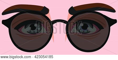 Men's Eyes In Black Sunglasses