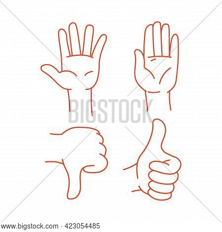 The Hand Shows Thumbs Down And A Good Gesture Is Thumbs Up. The Sign Is Good And Bad. Vector Illustr