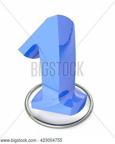 Number 1 Blue Over Metallic Circle On White Background - 3d Rendering Illustration