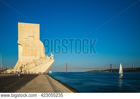 September 21, 2018: Monument Of The Discoveries On Bank Of Tagus River At Lisbon, Portugal. It Celeb
