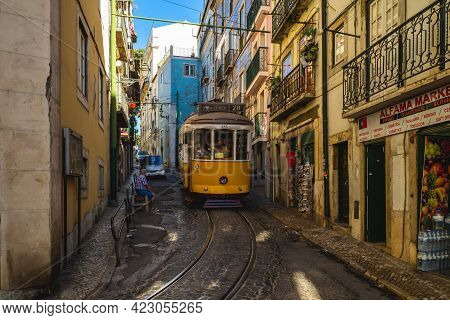 September 22, 2018: The Classic Route, Number 28 Tram Of Lisbon In Portugal. It Connects Martim Moni