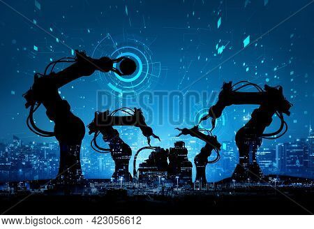 Mechanized Industry Of Future Factory Double Exposure Image . Concept Of Robotics Technology For Ind