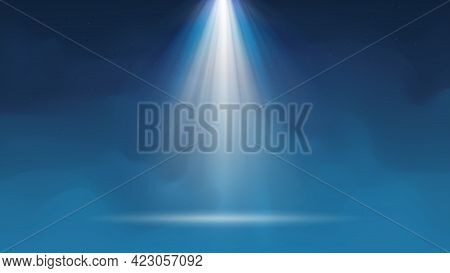 Background With Fog Spotlight. Illuminated Blue Smoky Scene. Background For Displaying Products. Bri