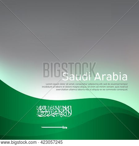 Abstract Waving Saudi Arabia Flag. Creative Shining Background For Design Of Patriotic Holiday Cards