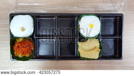 Top View Or Flat Lay Of Thai Dessert With Pudding With Coconut Topping, Sweet Sticky Rice With Custa