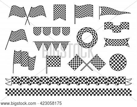 Collection Checkered Flag Vector Flat Illustration Chess Tissue For Finish And Start Of Sports Race